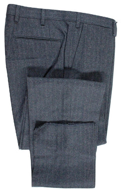 Vigano – Navy & Gray Herringbone Wool/Cotton Flannel Pants - PEURIST