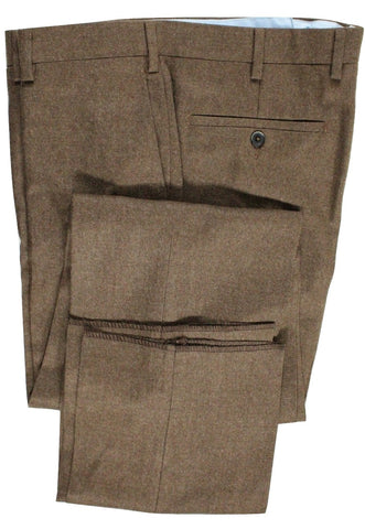 Vigano – Brown Wool Flannel Pants - PEURIST