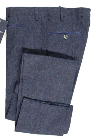 Vigano – Dark Blue Wool Flannel Pants - PEURIST
