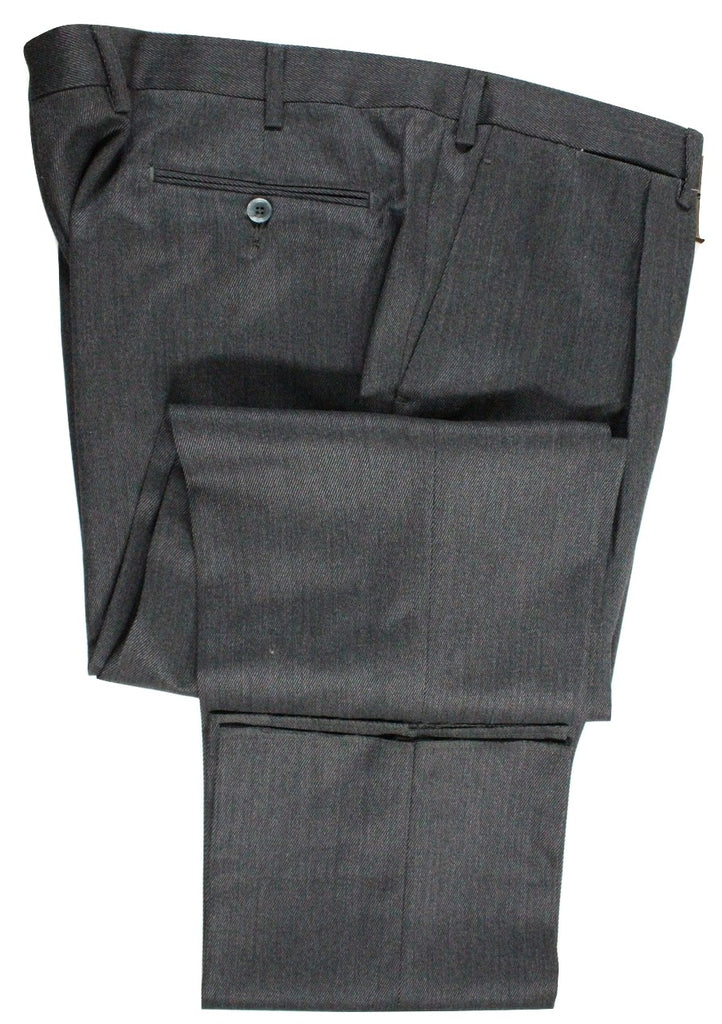 Vigano – Charcoal Heavy Wool Twill Pants w/Single Pleat - PEURIST