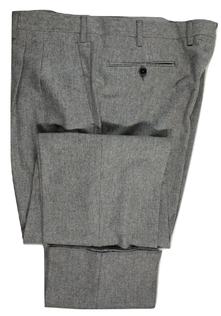 Covo & Covo by Vigano – Light Gray Wool Flannel Pants, Pleated - PEURIST