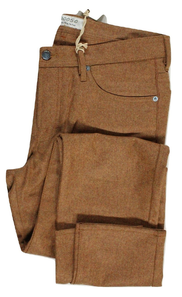 Vigano – Burnt Sienna Wool Flannel Five Pocket Pants - PEURIST