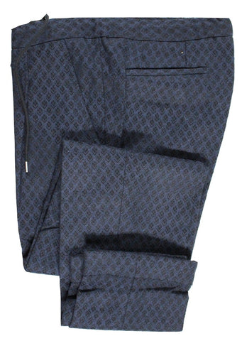 Vigano – Navy & Black Knit Wool Drawstring Pants w/Diamond Pattern - PEURIST