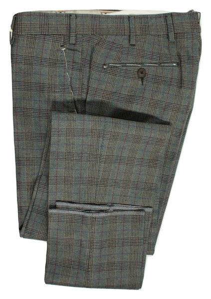 Vigano – Green Wool Blend Flannel Pants w/POW Check - PEURIST