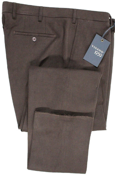 Vigano – Dark Brown Brushed Cotton Twill Pants - PEURIST