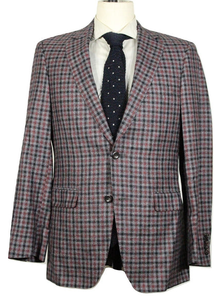 Samuelsohn – Gray Plaid Wool/Silk/Linen Flannel Blazer