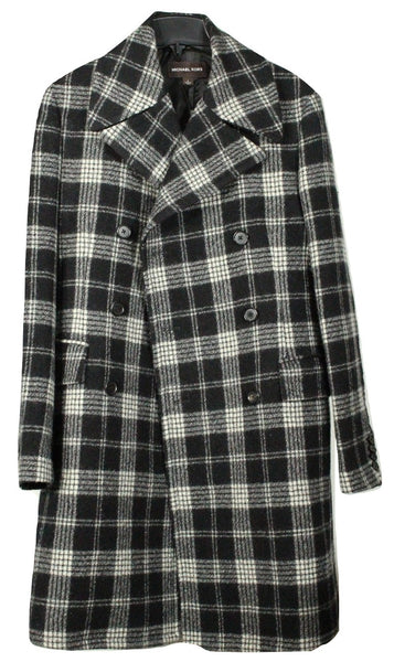 Michael Kors – Black & White Plaid Double Breasted Wool Polo Coat - PEURIST