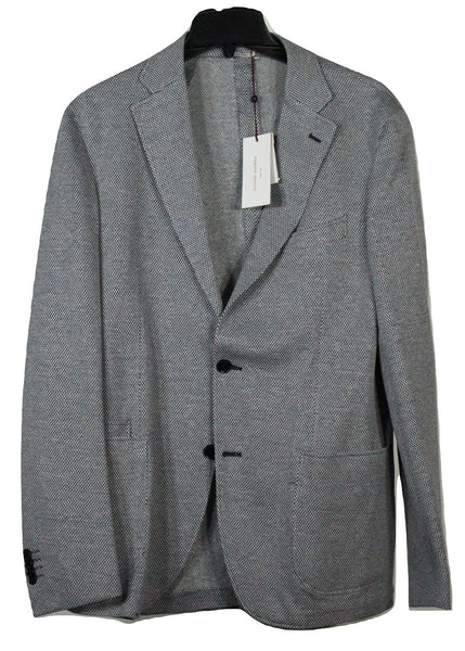 Luciano Barbera – Navy & Cream Linen/Cotton Knit Blazer - PEURIST