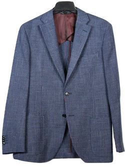 Luciano Barbera – Navy & Light Blue Check Wool/Silk/Linen Blazer - PEURIST