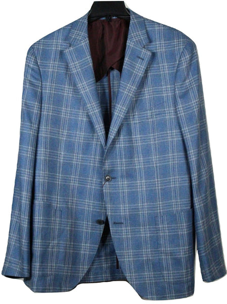 Luciano Barbera – Blue Silk/Linen/Wool Plaid Blazer - PEURIST