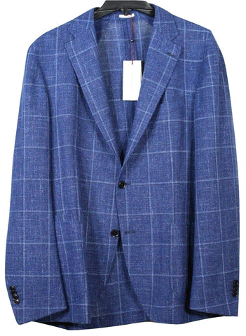 Luciano Barbera – Blue Wool/Silk Blazer w/Light Blue Windowpane - PEURIST