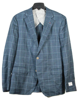 Samuelsohn – Teal Wool/Linen Blazer w/Navy & Blue Windowpane - PEURIST