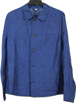 Burberry – Royal Blue Linen Shirt Jacket - PEURIST