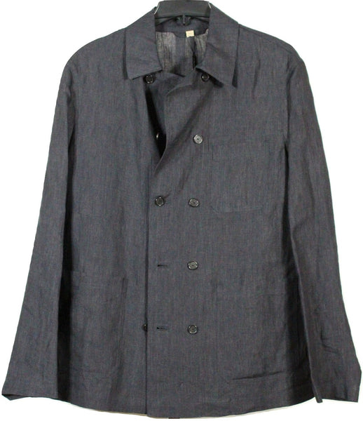 Burberry – Double Breasted Charcoal Linen Shirt Jacket - PEURIST