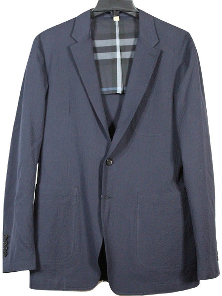 Burberry – Navy Cotton Seersucker Blazer - PEURIST