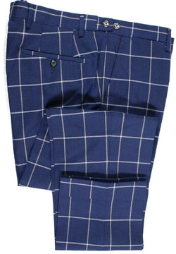 Vigano – Navy Wool Pants w/White & Cream Windowpane - PEURIST
