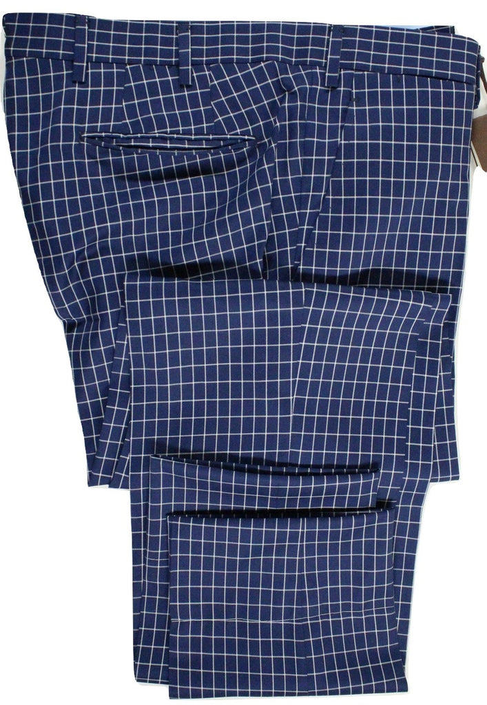 Vigano – Navy Wool Pants w/Off-White Check - PEURIST
