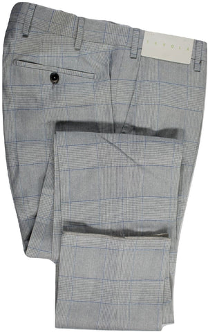 Tavola by Vigano – Light Gray & Blue Prince of Wales Linen Pants - PEURIST