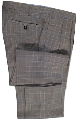 Vigano – Light Brown & Blue Prince of Wales Wool Pants w/Double Pleat - PEURIST