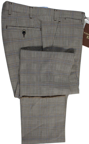Vigano – Brown & Blue Prince of Wales Wool Pants - PEURIST