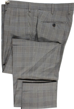 Vigano – Gray & Black Prince of Wales Wool Pants, Pleated - PEURIST