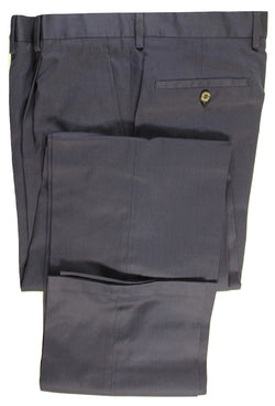 Aquascutum – Navy Pleated Cotton Twill Pants - PEURIST