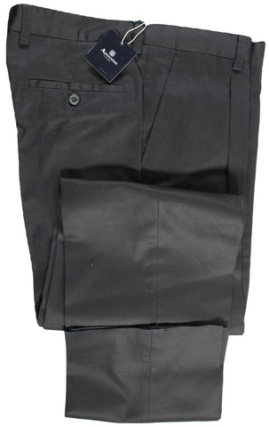 Aquascutum – Black Pleated Cotton Twill Pants - PEURIST