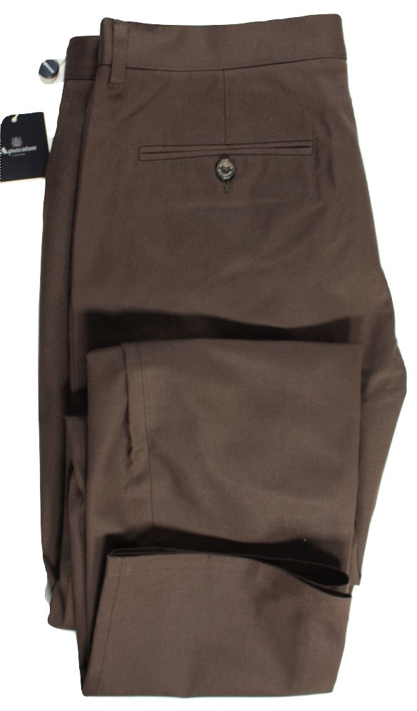 Aquascutum – Brown Cotton Twill Pants - PEURIST