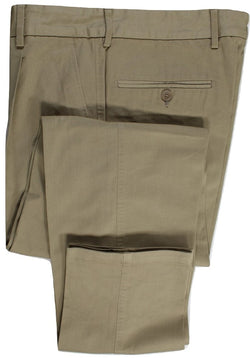 Equipage – Khaki Cotton Twill Pants w/Pleat - PEURIST