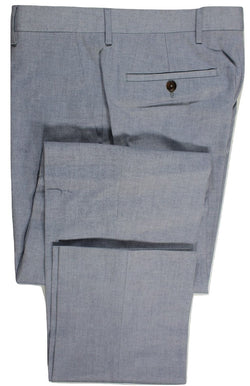Equipage – Light Navy/White Cotton Chambray Pants - PEURIST