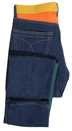 Calvin Klein Jeans – Green/Indigo/Orange Color Blocked Jeans - PEURIST