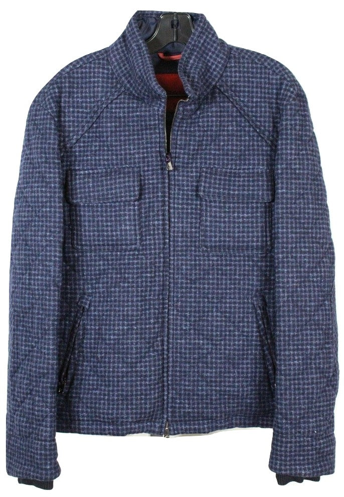 Isaia – Navy Wool Quilted Bomber Jacket - PEURIST