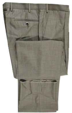 Vigano – Light Brown Wool/Silk Pants w/Pleat - PEURIST