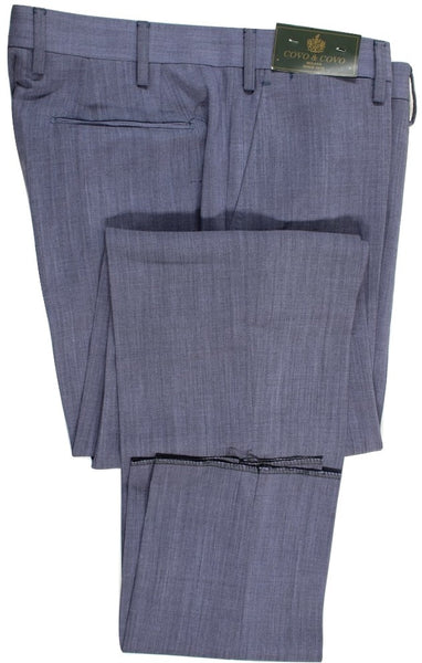 Vigano – Blue-Gray High Twist Wool Pants - PEURIST