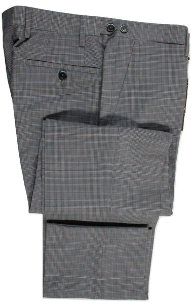 Vigano – Gray Lightweight Wool Pants w/Blue & Salmon Plaid - PEURIST