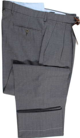 Vigano – Mid-Gray Four-Season Wool Pants w/Dual-Pleat - PEURIST
