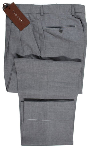 Vigano – Gray Hopsack Wool Pants w/Dual Pleat - PEURIST