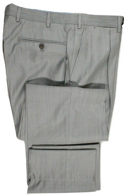 Vigano – Silver Lightweight Wool/Silk Pants w/Pleat - PEURIST