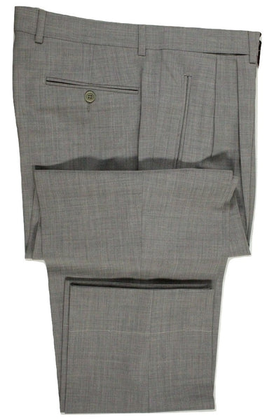 Vigano – Light Gray Four Season Wool Pants w/Pleats - PEURIST