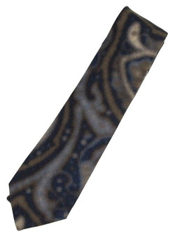 Isaia – Navy & Blue Paisley Screen-Printed Wool Tie - PEURIST