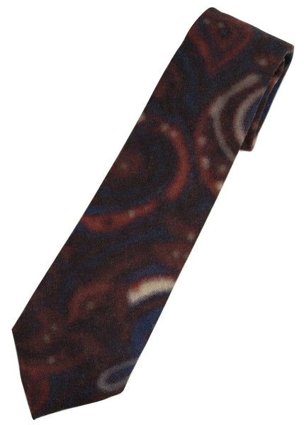 Isaia – Red & Navy Paisley Screen-Printed Wool Tie - PEURIST