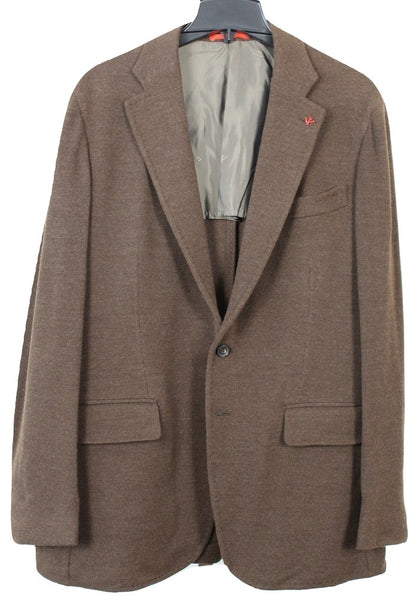 Isaia – Heavy Brown Wool Knit Blazer in Natural Black Sheep - PEURIST