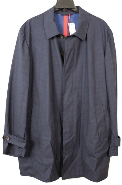 Isaia – Navy Wool Raincoat w/Faint Blue Plaid - PEURIST