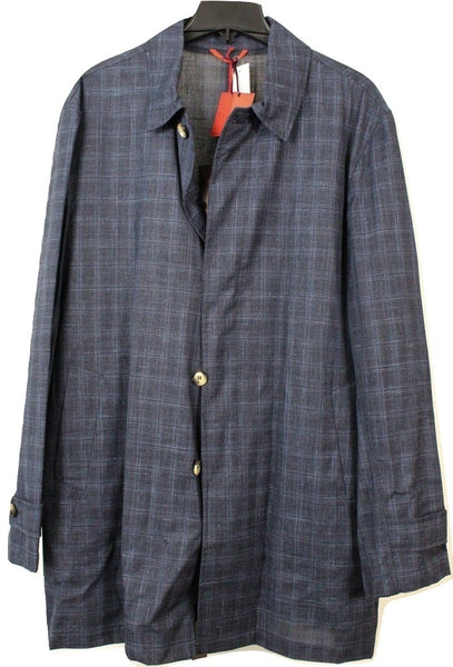 Isaia – Navy Wool/Silk/Linen Raincoat w/Faint Blue Paid - PEURIST