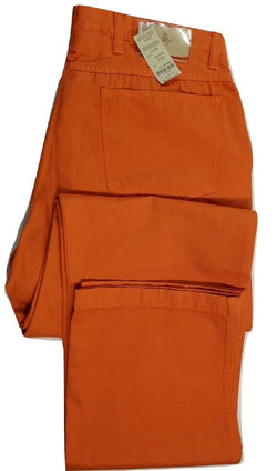 Paul Stuart – Orange Cotton/Linen Five Pocket Pants - PEURIST