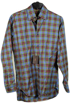Robert Talbott – Blue, Green & Orange Plaid Cotton Shirt