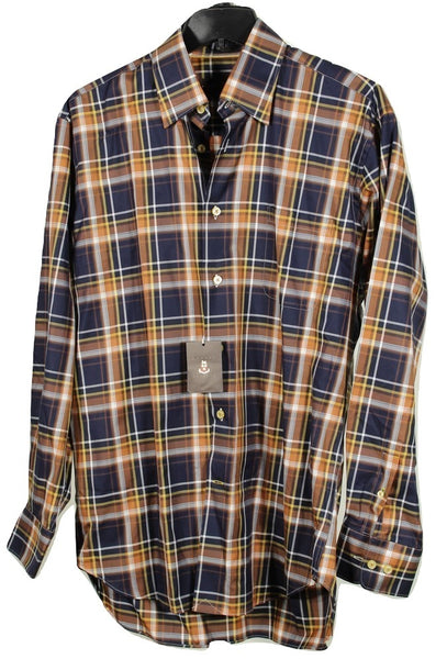 Robert Talbott – Navy & Brown Plaid Cotton Shirt