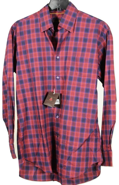 Robert Talbott – Navy & Red Plaid Cotton Shirt