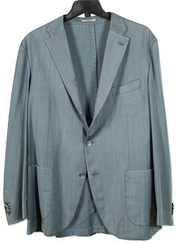 Boglioli – Teal Garment Washed Wool Herringbone Blazer