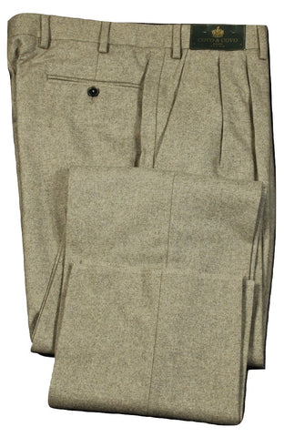 Covo by Vigano – Light Taupe Wool Flannel Pants w/Dual Pleat
